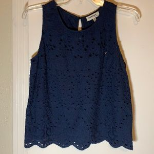 Monteau Scallop Eyelet Cropped Navy Top M
